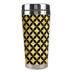 Circles3 Black Marble & Gold Brushed Metal (r) Stainless Steel Travel Tumbler by trendistuff