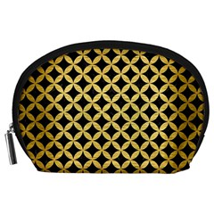 Circles3 Black Marble & Gold Brushed Metal Accessory Pouch (large) by trendistuff