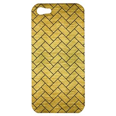 Brick2 Black Marble & Gold Brushed Metal (r) Apple Iphone 5 Hardshell Case by trendistuff