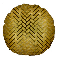 Brick2 Black Marble & Gold Brushed Metal (r) Large 18  Premium Round Cushion  by trendistuff