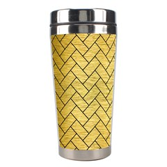 Brick2 Black Marble & Gold Brushed Metal (r) Stainless Steel Travel Tumbler by trendistuff