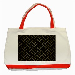 Brick2 Black Marble & Gold Brushed Metal Classic Tote Bag (red) by trendistuff