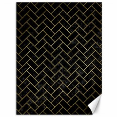Brick2 Black Marble & Gold Brushed Metal Canvas 36  X 48