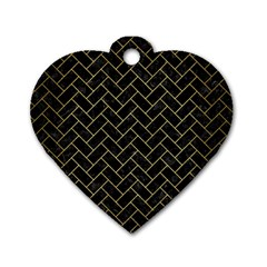 Brick2 Black Marble & Gold Brushed Metal Dog Tag Heart (two Sides) by trendistuff