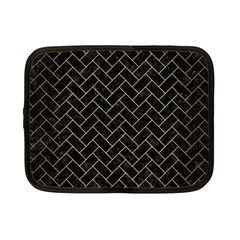 Brick2 Black Marble & Gold Brushed Metal Netbook Case (small) by trendistuff