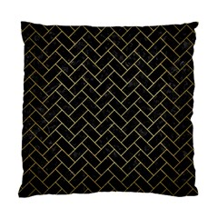 Brick2 Black Marble & Gold Brushed Metal Standard Cushion Case (one Side) by trendistuff