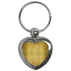 Brick1 Black Marble & Gold Brushed Metal (r) Key Chain (heart) by trendistuff
