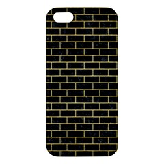 Brick1 Black Marble & Gold Brushed Metal Apple Iphone 5 Premium Hardshell Case by trendistuff