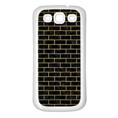 Brick1 Black Marble & Gold Brushed Metal Samsung Galaxy S3 Back Case (white) by trendistuff