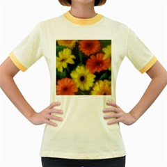 Orange Yellow Flowers Women s Fitted Ringer T Shirts