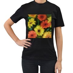 Orange Yellow Flowers Women s T Shirt (black) (two Sided)