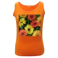 Orange Yellow Flowers Women s Dark Tank Top