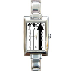 Funny Black and White Stripes Diamonds Arrows Rectangle Italian Charm Watch