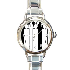 Funny Black and White Stripes Diamonds Arrows Round Italian Charm Watch