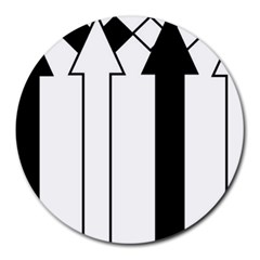 Funny Black and White Stripes Diamonds Arrows Round Mousepads