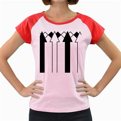 Funny Black and White Stripes Diamonds Arrows Women s Cap Sleeve T-Shirt