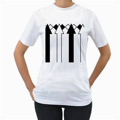 Funny Black and White Stripes Diamonds Arrows Women s T-Shirt (White) (Two Sided)