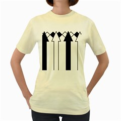 Funny Black and White Stripes Diamonds Arrows Women s Yellow T-Shirt