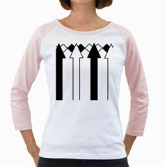 Funny Black and White Stripes Diamonds Arrows Girly Raglans