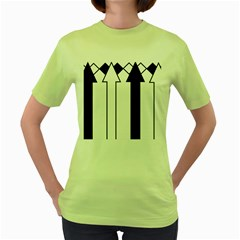 Funny Black and White Stripes Diamonds Arrows Women s Green T-Shirt
