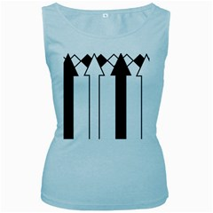 Funny Black and White Stripes Diamonds Arrows Women s Baby Blue Tank Top