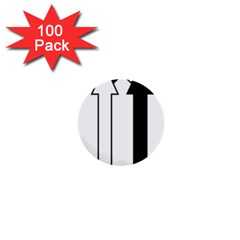 Funny Black and White Stripes Diamonds Arrows 1  Mini Buttons (100 pack)