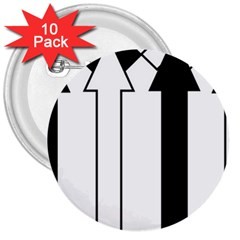 Funny Black and White Stripes Diamonds Arrows 3  Buttons (10 pack)
