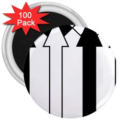 Funny Black and White Stripes Diamonds Arrows 3  Magnets (100 pack)