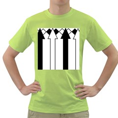 Funny Black and White Stripes Diamonds Arrows Green T-Shirt