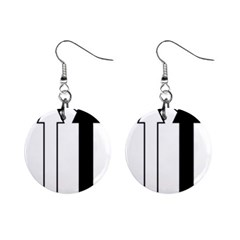 Funny Black and White Stripes Diamonds Arrows Mini Button Earrings