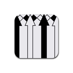 Funny Black and White Stripes Diamonds Arrows Rubber Coaster (Square)