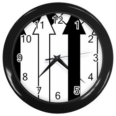 Funny Black and White Stripes Diamonds Arrows Wall Clocks (Black)