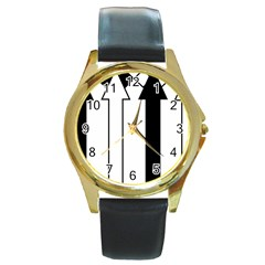 Funny Black and White Stripes Diamonds Arrows Round Gold Metal Watch