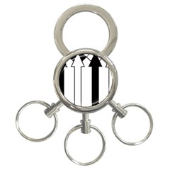 Funny Black and White Stripes Diamonds Arrows 3-Ring Key Chains