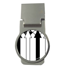 Funny Black and White Stripes Diamonds Arrows Money Clips (Round)