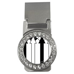 Funny Black and White Stripes Diamonds Arrows Money Clips (CZ)