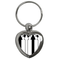 Funny Black and White Stripes Diamonds Arrows Key Chains (Heart)