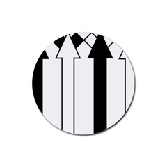 Funny Black and White Stripes Diamonds Arrows Rubber Coaster (Round)