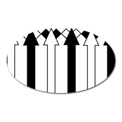 Funny Black and White Stripes Diamonds Arrows Oval Magnet