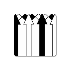 Funny Black and White Stripes Diamonds Arrows Square Magnet