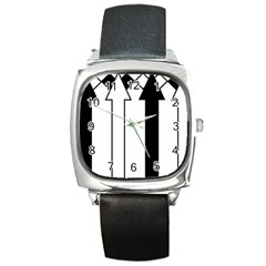 Funny Black and White Stripes Diamonds Arrows Square Metal Watch