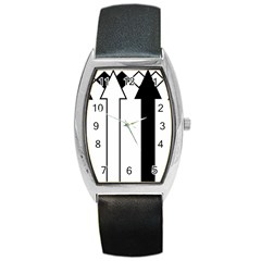 Funny Black and White Stripes Diamonds Arrows Barrel Style Metal Watch