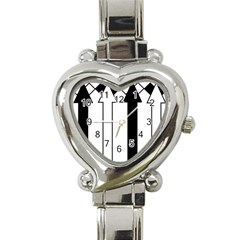 Funny Black and White Stripes Diamonds Arrows Heart Italian Charm Watch