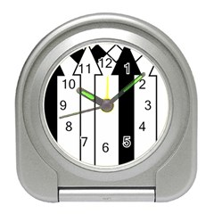 Funny Black and White Stripes Diamonds Arrows Travel Alarm Clocks
