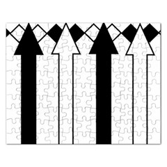 Funny Black and White Stripes Diamonds Arrows Rectangular Jigsaw Puzzl