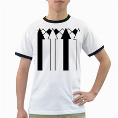 Funny Black and White Stripes Diamonds Arrows Ringer T-Shirts