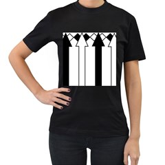 Funny Black and White Stripes Diamonds Arrows Women s T-Shirt (Black) (Two Sided)