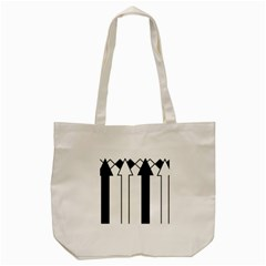 Funny Black and White Stripes Diamonds Arrows Tote Bag (Cream)