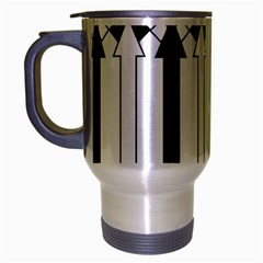 Funny Black and White Stripes Diamonds Arrows Travel Mug (Silver Gray)
