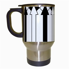 Funny Black and White Stripes Diamonds Arrows Travel Mugs (White)